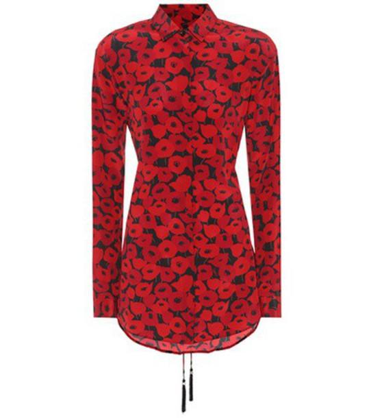 Saint Laurent top floral silk red