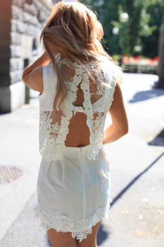 dress lace dress mini dress backless opened back dress white white dress embroidered embroidered dress lace white white lace dress backless dress shoes clothes blouse