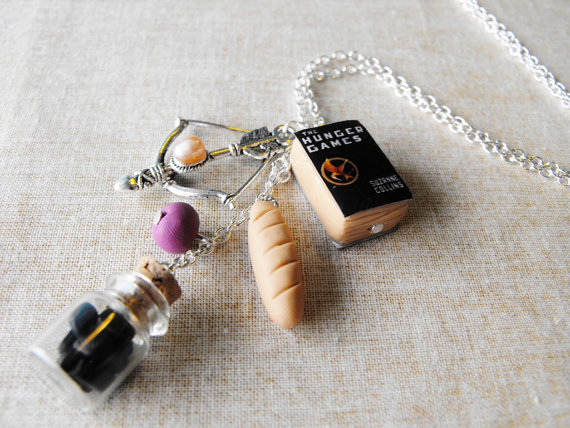 The hunger games inspired necklace miniature by bottledwonders