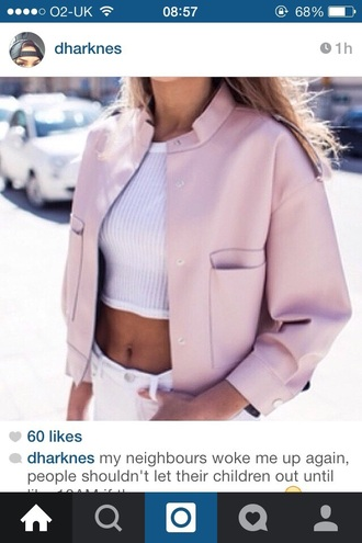 jacket pink bomber jacket leather jacket pink leather pink leather jacket nude pink leather sweet nude pockets all pink wishlist white top crop tops skinny jeans white jeans rose pink jacket pink bomber jacket vest women top white ribbed chic fashion pastel veste printemps