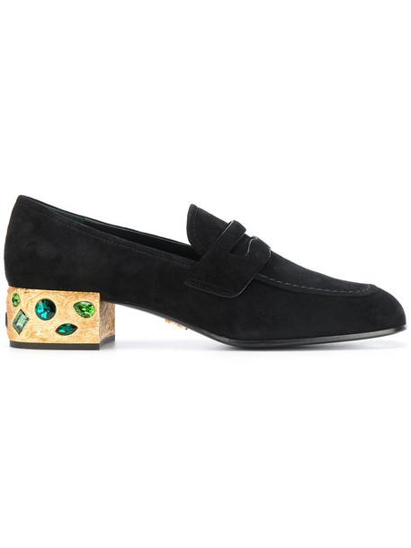 Prada heel women embellished loafers leather suede black shoes