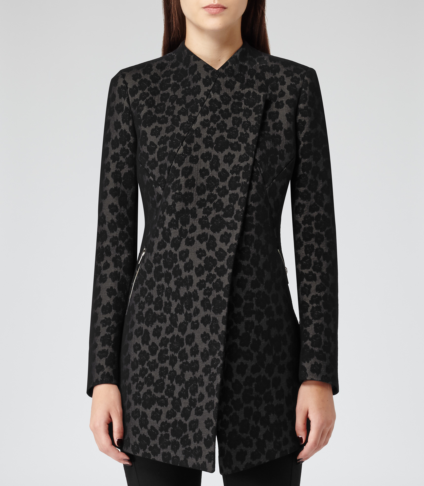 Cadie Leopardprint Tailored Leopard-print Coat - REISS