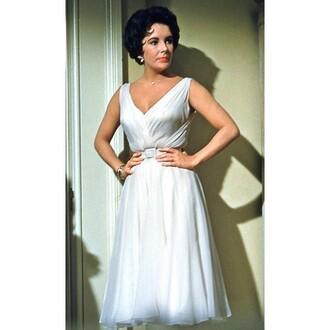 dress white dress 50s dress cat on a hot tin roof sleeveless dress belt pretty elizabeth taylor 50s style sleeveless white dress beautiful