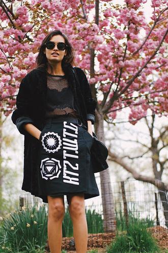 gizele a go-go blogger top skirt sunglasses coat