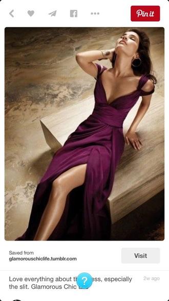 dress simple prune slit long dress purple dress gown