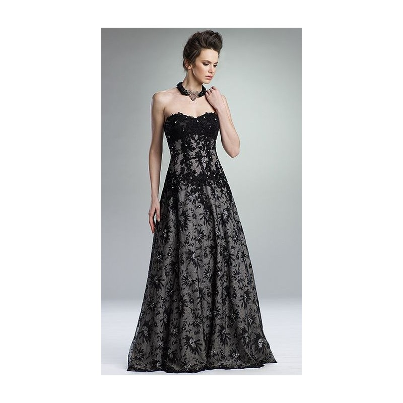 Rina di Montella Black Chantilly Lace Evening Dress for Mothers RS1321 - Brand Prom Dresses|Beaded Evening Dresses|Charming Party Dresses