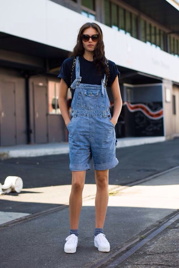 dress overalls denim shorts dungarees blue unisex boy hipster indie cool fashion week