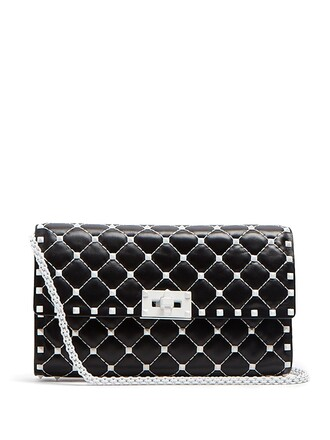 leather clutch quilted clutch leather white black bag