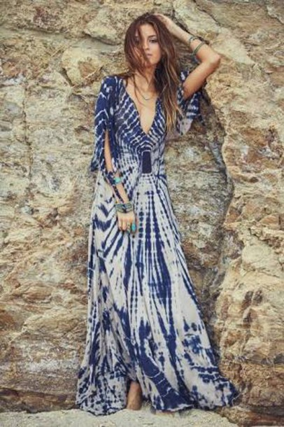 Dress Tie Dye Maxi Dress Plunge Neckline Sleeve Maxi Dress Boho