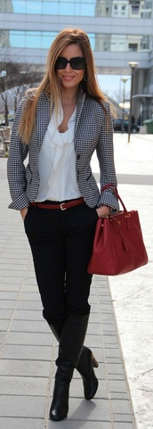 bag,office outfits,red,red bag,belt,red belt,blazer,blouse,white blouse,jacket,pants