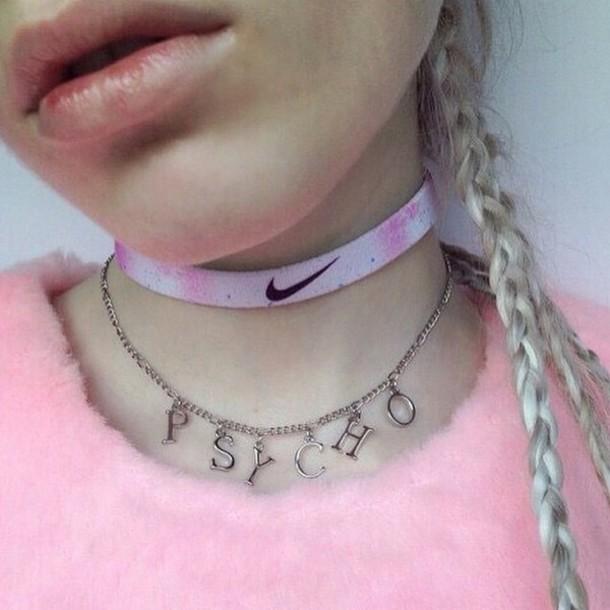 jewels choker necklace psycho nike air blouse pink choker necklace nike aesthetic tumbkr grunge pale grunge cute pretty nice kawaii