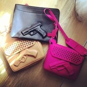 bag,gun,pink,black,nude,fashion bags