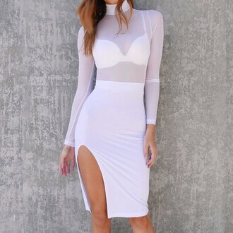dress sheer mesh white summer summer dress date outfit date ideas bra bralette slit dress slit skirt pencil skirt long sleeves gojane