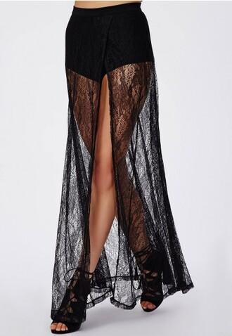 lace skirt black maxi skirt