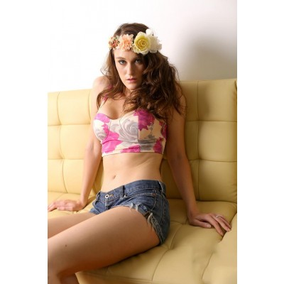 Buy Fashion Clothing -  Pink Flower Retro Bustier Top - Tops