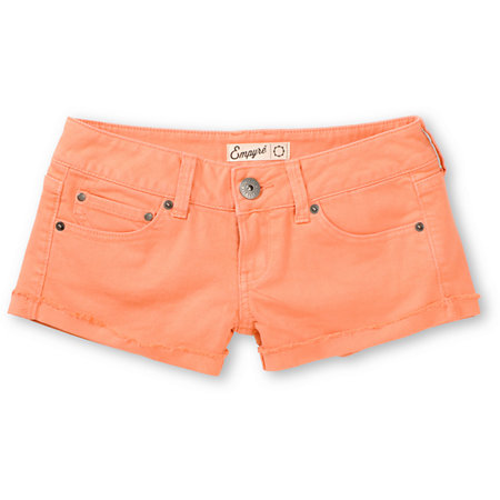 Empyre girls dani coral denim shorts at zumiez : pdp