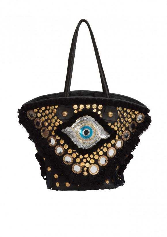 Large Tuk Tuk Tote in Black Evil Eye - Bohemian Designer Bags