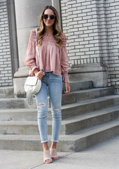 twenties girl style,blogger,top,shoes,bag,sunglasses,jewels,pink blouse,shoulder bag,mules,spring outfits