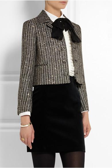Embellished metallic tweed jacket