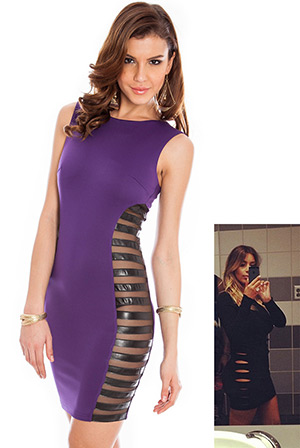 Sleeveless PU Mini Dress in the style of Kim Kardashian