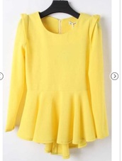 top,yellow,peplum,shirt,blouse,sleeves,style,pretty