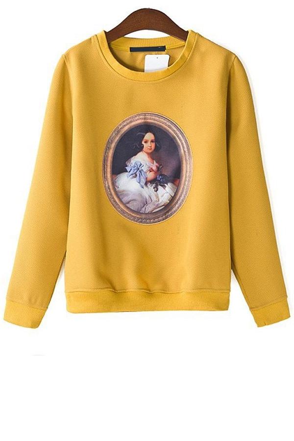 Street-chic Front Applique Sweatshirt - OASAP.com