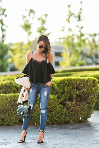lace and locks blogger jeans jacket shoes bag sunglasses jewels high heel sandals chanel bag black blouse sandals black top aviator sunglasses date outfit black bag