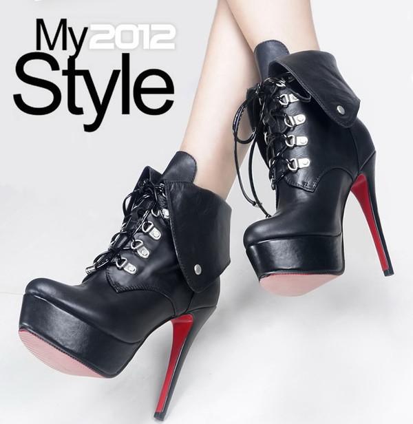 shoes black leather stilettos pumps lace-up shoes red sole
