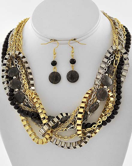 Black/gold/silver link statement necklace