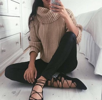 shoes black ballet flats sweater winter outfits
