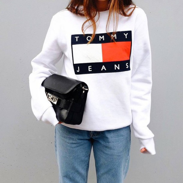 top tumblr tommy hilfiger white top sweatshirt sports sweater bag black bag proenza schouler jeans denim blue jeans athleisure 90s style no gender sweater
