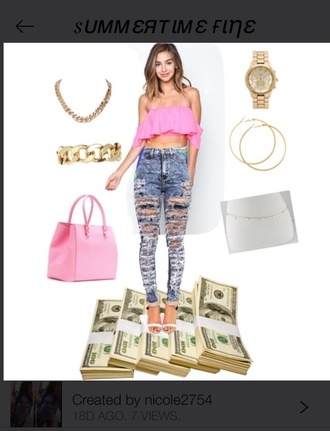 crop tops chain gold pink skinny jeans style acid washed skinny jeans ripped jeans summer top gold chain