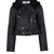 Hide Black Lis Shearling Collar Cropped Leather Jacket | Women's Jackets | Liberty.co.uk