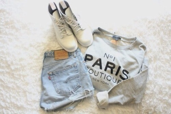 shoes white paris sweater shorts levi's shirt paris shirt