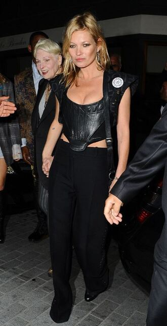 top bustier kate moss leather pants all black everything