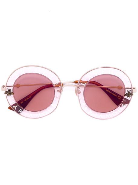 Gucci Eyewear - round sunglasses - women - Acetate/metal - 44, Brown, Acetate/metal