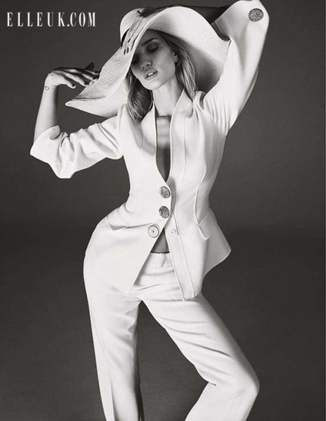 rosie huntington-whiteley white pants suit tailoring