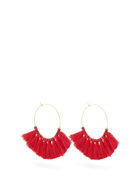 ELISE TSIKIS tassel embellished earrings hoop earrings red jewels