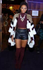 shoes,cuissardes,chic,daim,cuir,keri hilson,fur,crop tops,celebrity style