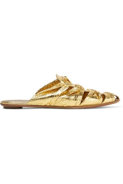 The Row - Capri Metallic Elaphe Slippers - Gold