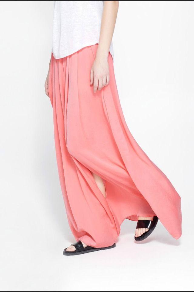 GENUINE ZARA BEAUTIFUL FLOWING CORAL MAXI LONG SKIRT GORGEOUS SIZE S SMALL BNWT | eBay