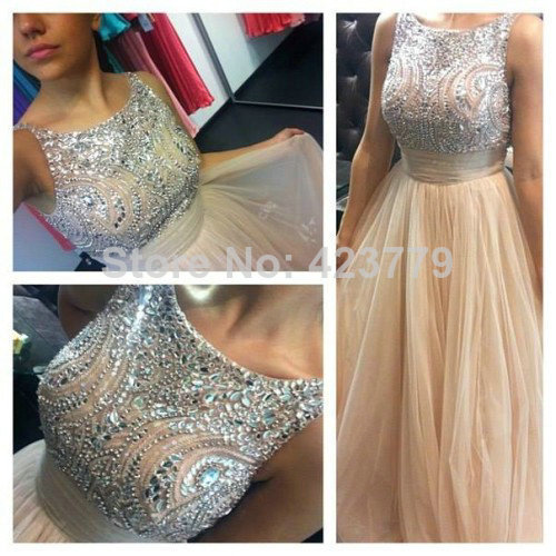 Aliexpress.com : Buy Charming Crystal Beaded Long Party Dresses Floor Length Sleeveless Boat Neck A line Tulle Prom Dresses 2014 from Reliable dress clubwear suppliers on 27 Dress