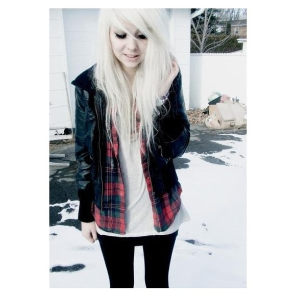 black leggings shirt snow plaid shirt leather jacket white t-shirt