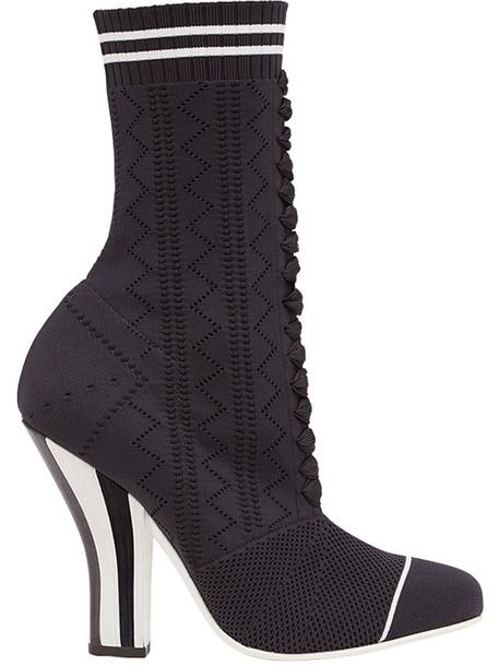 Fendi sock boots open women leather black shoes