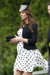 dress,kate middleton,polka dots,jacket,hat,maternity