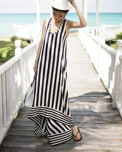 Condole belt backless long stripe beach dress