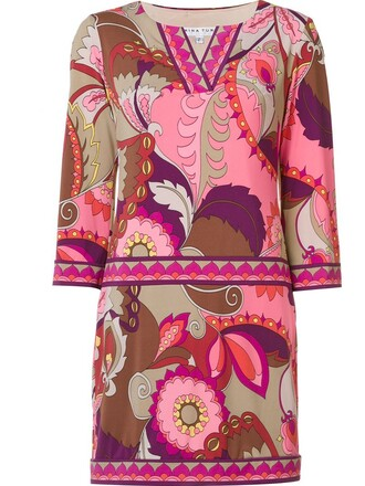 dress short dress short women spandex print purple pink