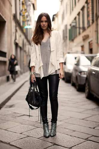 shoes tumblr silver shoes ankle boots boots black leather pants leather pants black pants bag black bag pants top grey top jacket white jacket fall outfits streetstyle