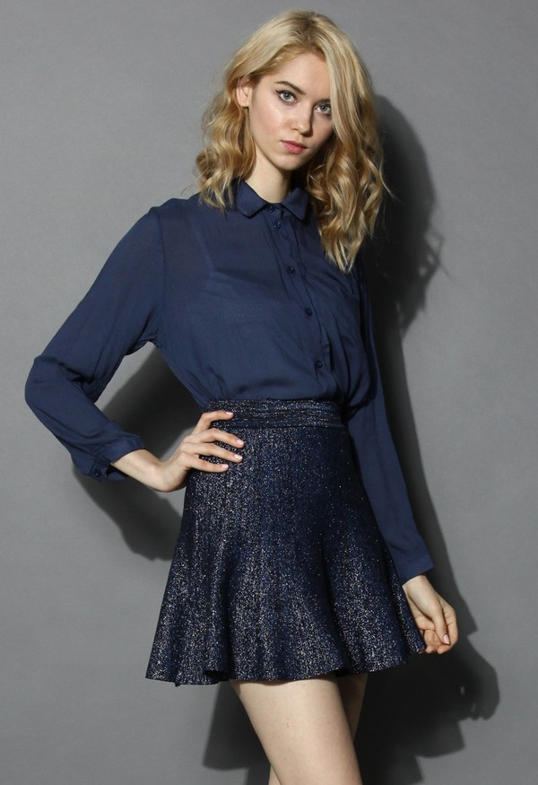 chicwish textured cotton shirt navy