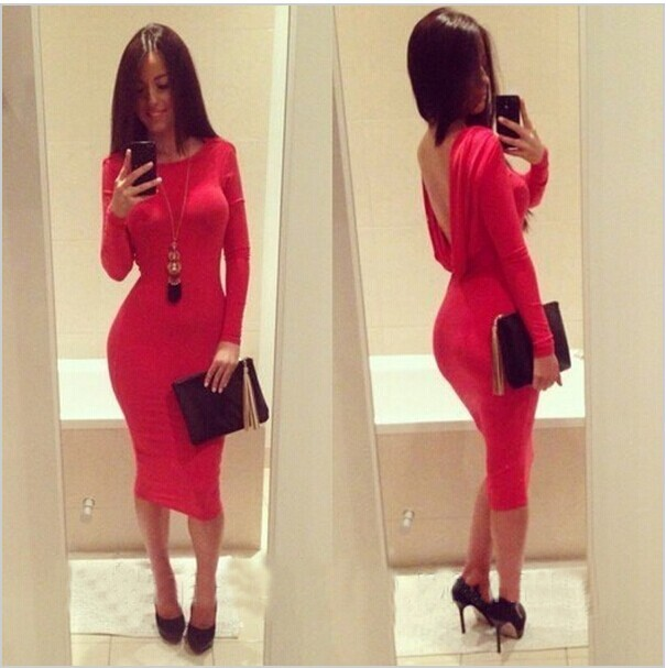 Backless hot sexy show body long sleeve dress
